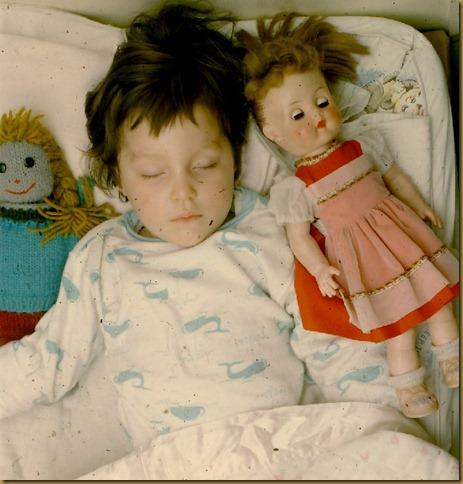Lindy asleep with dolls - 65