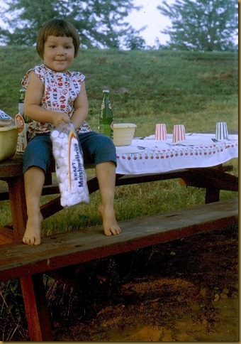 Lindy sitting on table with Marshmellows - 65